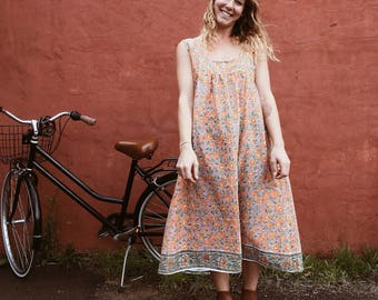 Crescent Moon MIDI length dress -  handprinted cotton voile - SIZE SMALL