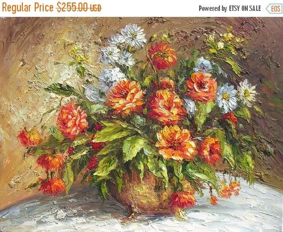 70%OFF Love Vibration 23 x 30 Original Oil Painting Palette Knife Vase Bouquet Textured Colorful Vase Bouquet Orange White Hot  by Marchella