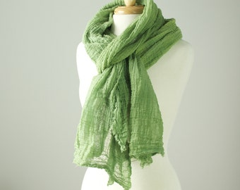 avocado green hand dyed wavy textural long cotton gauze scarf with raw edges