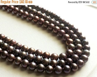 ON SALE 55% Pearls - Purple Grey Color Pearls, Natural Fresh Water Round Pearls, Natural Pearls, 7mm, 16 Inch Strand, 60 Pieces, Wholesale P