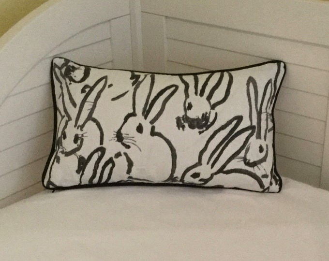 Groundworks Bunny Hutch in Black on Both Sides Designer Lumbar Pillow Cover with Your Choice of Piping Color