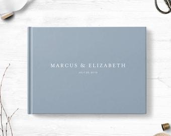 Blue Gray wedding guest book, Landscape or Portrait, Wedding guest book, Various colors