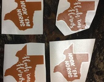 Hook Em Horns Texas Decal (individual)