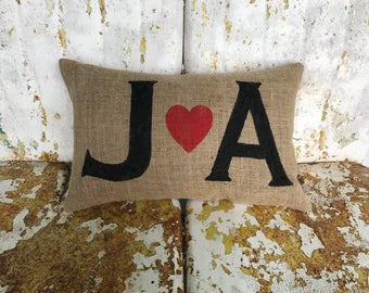Personalized Love Initials Burlap Pillow Throw Accent Pillow Custom Colors Available Wedding Anniversary Gift Home Decor