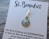 St. Benedict Clip-On Charm Tibetan Silver Inspirational gift, Protection charm, purse charm, planner charm, Key fob dangle, Zipper pull