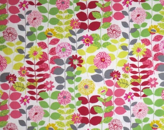 Lovely Pink and Green Blossom Floral Print Pure Cotton Fabric --By the Yard