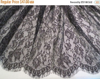 ON SALE Black with Silver Chantilly Style Lace Fabric--One Yard