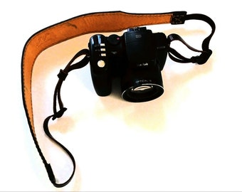 Oil leather camera strap, brown hand stitched