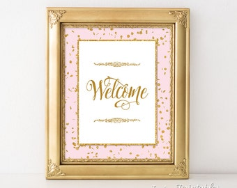 Welcome Sign, Pink and Gold Glitter Confetti Sign, Shower, Birthday, Wedding, DIY Printable, INSTANT DOWNLOAD