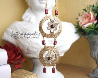 Bicolor bronze pendant, garnet, OOAK, SAPE31
