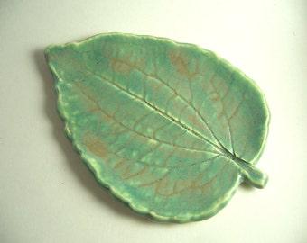 Toasted Sage Pottery Leaf Spoon Rest