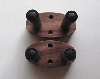 Walnut ukulele wall mount hangers, hook.  Two pack, wood grain will vary.