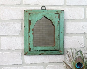 Moroccan Mirror Vintage Reclaimed Wood Mirror Wall Hanging Art Distressed Electric Turquoise Color Mirror Moroccan Decor Turkish