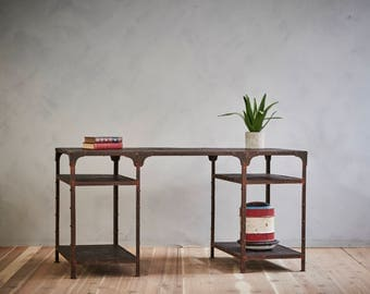 Reclaimed Dark Wood and Steel Industrial Desk Double Sided Work Station