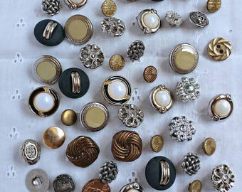 Vintage Buttons Lot-60 Buttons-Most from the 1980's-1990's-Vintage Shank Plastic Buttons-Gold Tone Buttons-Silver Tone Buttons