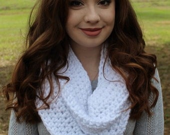 Chunky Crocheted White Infinity Scarf