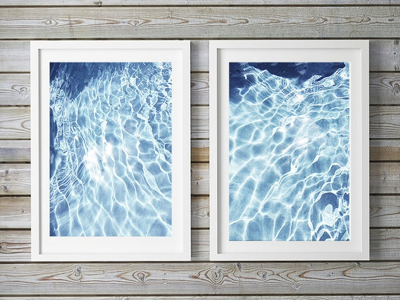 Set of 2, Fine Art, Water, Light, Rectangular or Square, Abstract Photos, Wall Decor, Beach Art, Coastal Decor, Blue and White Art Prints