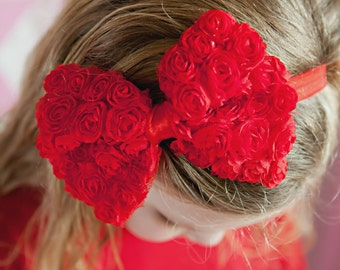 Chiffon Rosette Bow Headband / Available in 6 Colors / One Size