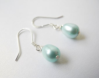 Pearl Earrings, Robin's Egg Blue Colored Cultured Freshwater Pearl Drop Earrings with Sterling Silver Earring Hooks