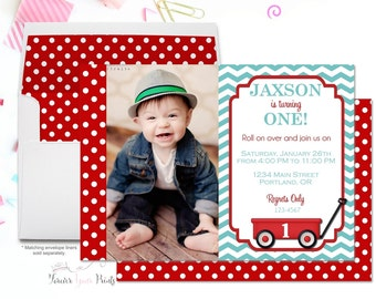 Red Wagon Invitation - Boys Birthday Invitation - Red Wagon Birthday Invitation - Red Wagon Party Invitation - Little Red Wagon Invitation