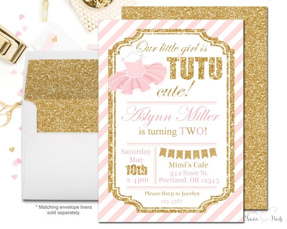 Tutu Birthday Invitations, Ballerina Birthday Invitations, Girls Birthday Invitations, 1st Birthday Invitations, Pink and Gold Glitter