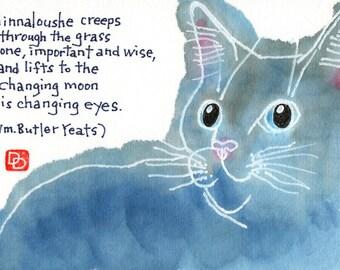 Cat Eyes in Moonlight (Etegami Original, Cat Art)