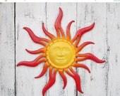 SPRING SALE Large  Metal Sun Face Wall Art // Garden Decor //Metal Garden Wall Art //SUNFACE// Starburst //Sunshine//Red/Yellow/Orange