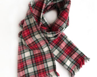 Adult Flannel Scarf -  Red - Plaid Flannel - Flat or Infinity