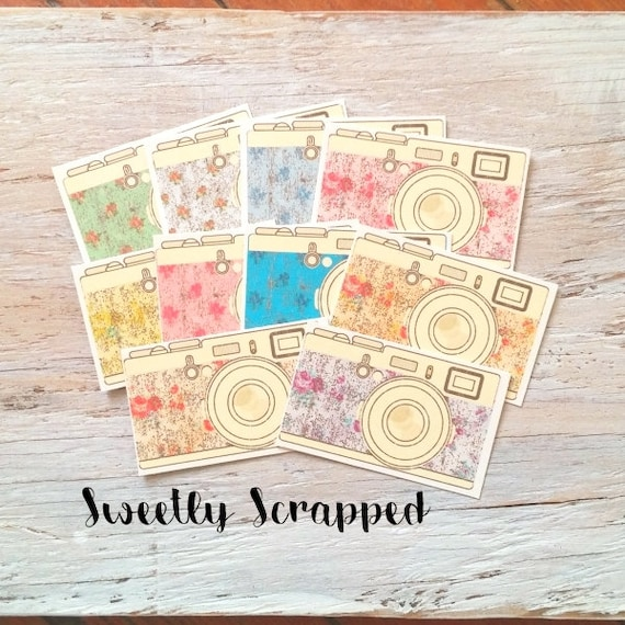 10 Camera Embellishments ... Shabby Chic, Floral, Scrapbooking, Cardmaking, Photography, DIY, Flower, Distressed