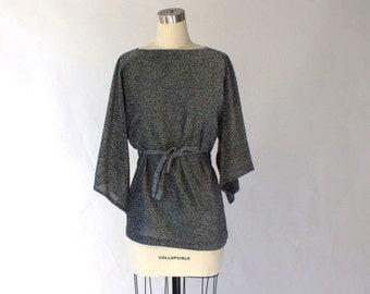 1970s Metallic Angel Sleeve Blouse  // 70s Vintage Black And Silver Belted Dolman Sleeve Top // Medium - Large