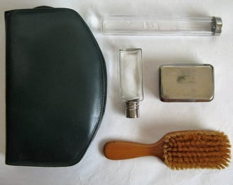 Vintage 60s Mens Grooming Kit Dark Green Leather 1960s Compact Grooming Travel Kit Glass Bottles