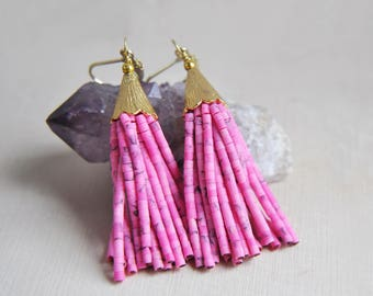 Pink Tassel Earrings, Pink Earrings, Tassel Earrings, Festival Earrings, Bohemian Earrings, Boho Earrings, Summer Earrings, Pink Jewelry