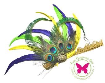 Mardi Gras Peacock Feather Headpiece...Flapper Style Headpieces...Roaring Twenties Art Deco Hairpiece...Peacock Costume Accessories
