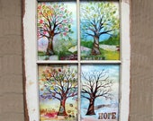 RESERVED FOR PAM windowpane framed four seasons mixed media tree