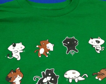 Exercise Cat Green & Blue Multicoloured Silkscreened T-Shirts