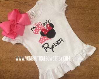 Red hot pink mouse bow Personalized Boutique Number Birthday Boutique two 2nd flutter Girls Applique Short Long Sleeve Shirt Tank icing