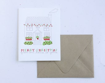 Letterpress Card- Christmas HouSe