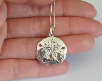 Sterling Silver Sand Dollar Necklace, Nautical Jewelry, Beach Jewelry, Birthday Gift, Mother's Gift, Bridesmaid Gift, Kids Jewelry