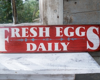 Farmhouse Rustic Fresh Eggs Sign fresh eggs daily sign chicken farmer  egg signs backyard chickens eggs chicken coop sign chicken farm