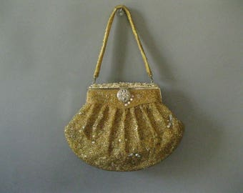 Gold Beaded Evening Purse - 1940s Rhinestone Wedding Bridal Formal Prom Handbag - H Leh and Co