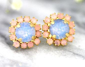Blue Pink Earrings, Rose Quartz Serenity Earrings, Swarovski Studs, Blue Opal Earrings, Bridal Pastel Earrings, Bridesmaids Earrings