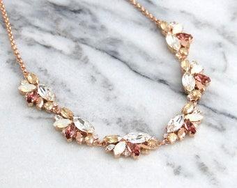 Blush Necklace, Bridal Blush Necklace, Swarovski Crystal Blush Necklace, Morganite Necklace, Bridesmaids Necklaces, Blush Rose Neckalce