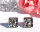 "Small Dichroic Glass Stud Earrings, Fused Glass Jewelry, Sterling Silver, Square - Warm Metallic Colors,  3/8"" or 10mm (Item #30938-E)"