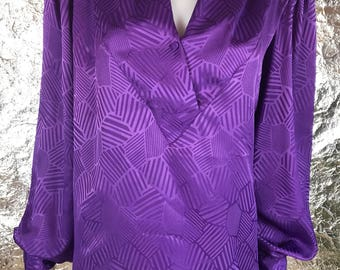 Vintage Silky Purple V Neck 1980's Blouse  L