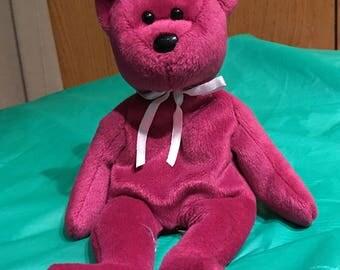 Ty Beanie Baby Teddy Magenta New Face-Rare