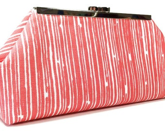Clutch Purse Bag Wedding Clutches Bridesmaid Gift - Coral White Scribble Stripe