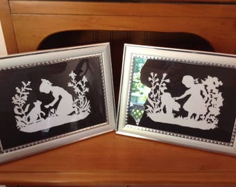 Scherenschnitte Paper Cutting Little Girl Framed Prints