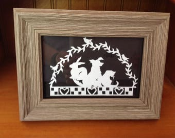 Scherenschnitte paper cutting animal love framed print