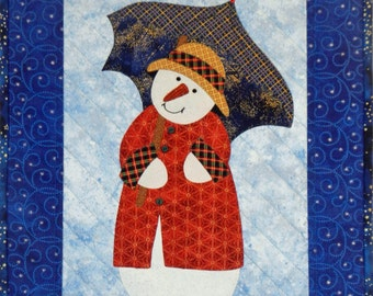 Snow Lady with an Umbrella Wall Quilt, 4885-0, winter wall quilt, snowman wall quilt