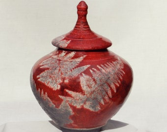 Red Pottery Urn,8 in. Decorative Raku Ceramic Jar for Home and Office Decor, Handmade Keepsake Storage or Artistic Nature Centerpiece Gift